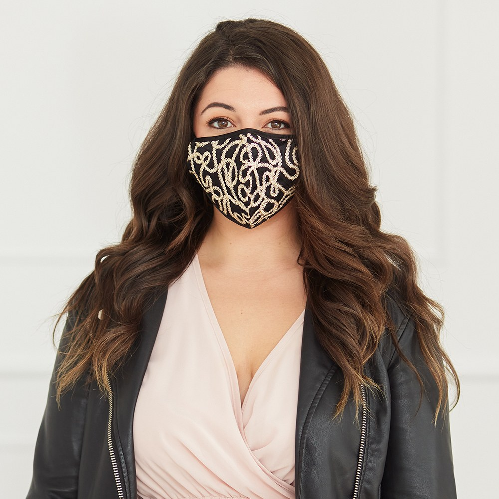 Luxury Adult Reusable, Washable Cloth Face Mask With Filter Pocket - Black & Gold