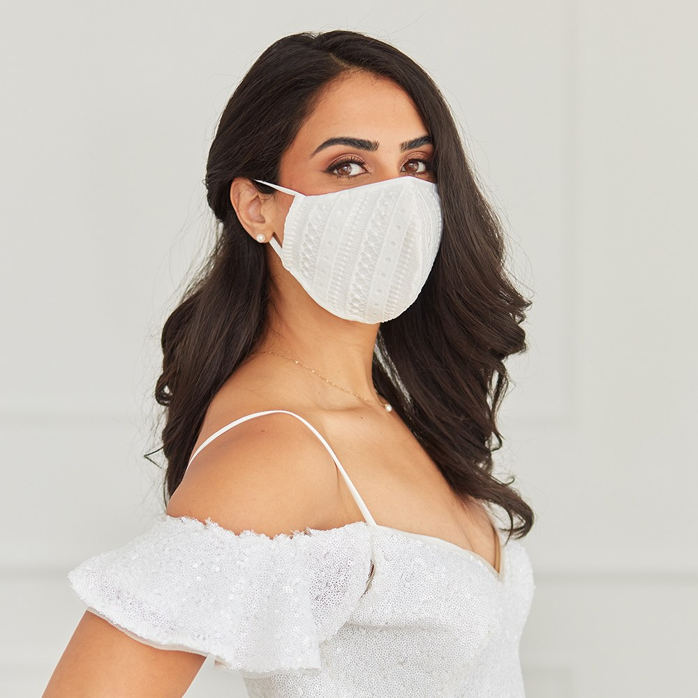 Luxury Adult Reusable, Washable Cloth Face Mask With Filter Pocket - Boho Lace