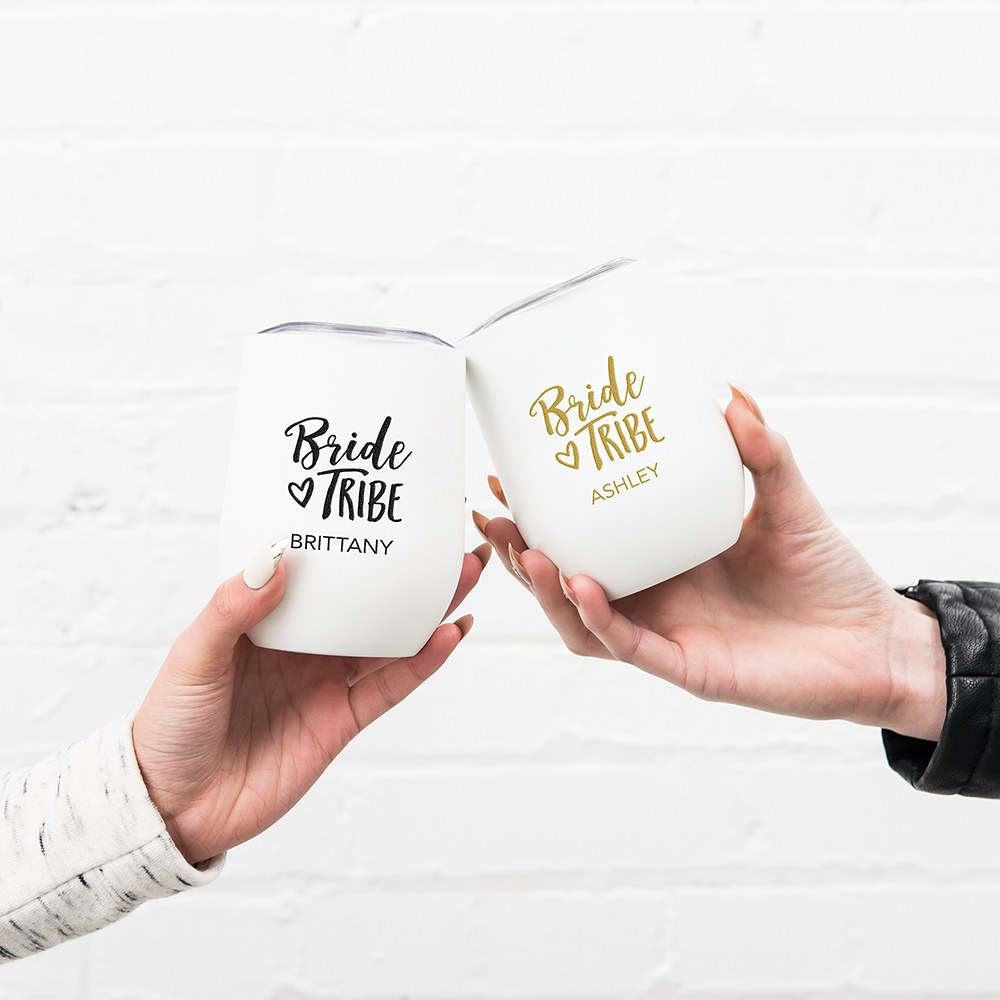 Personalized Stemless Travel Tumbler - Bride Tribe