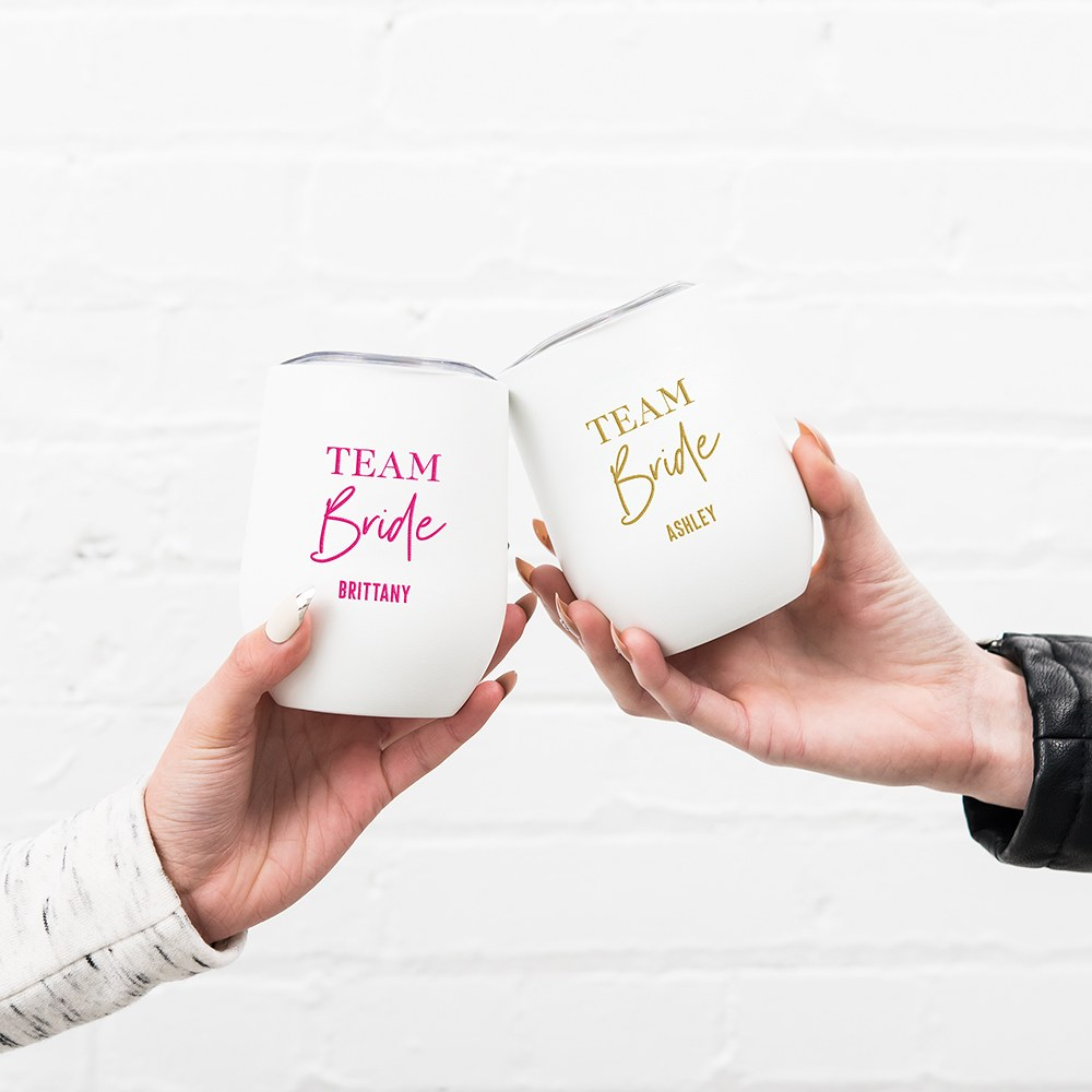 Personalized Stemless Travel Tumbler - The Team Bride