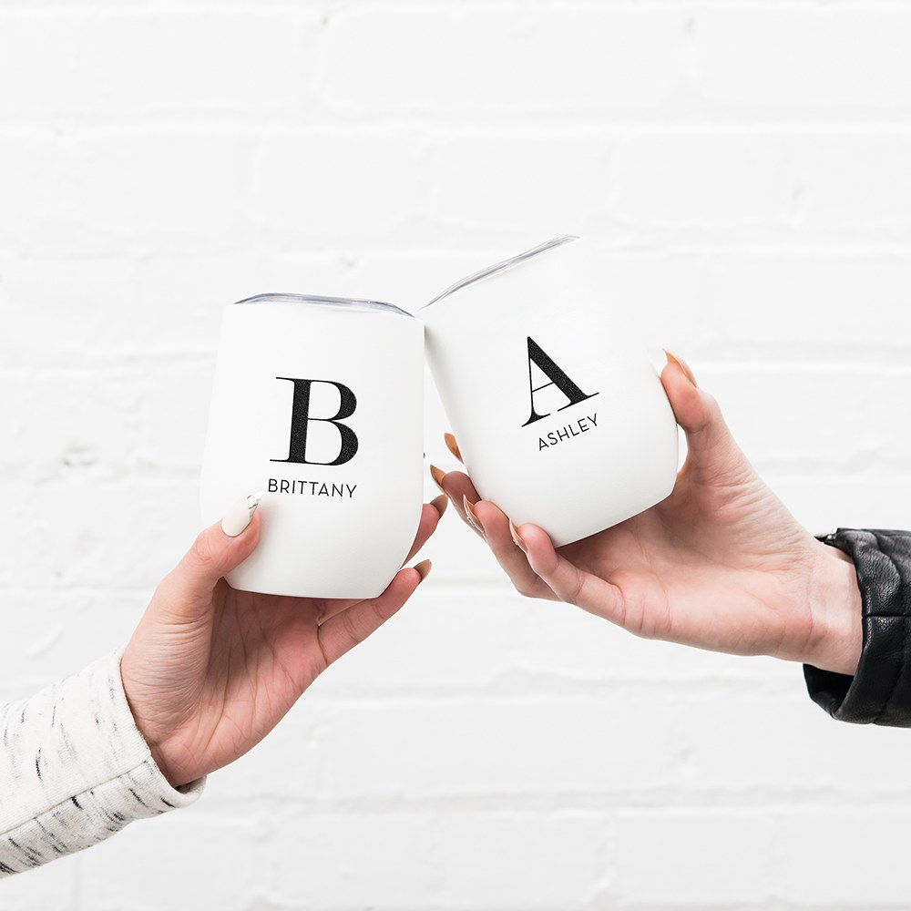 Personalized Stemless Travel Tumbler - Modern Serif Initial
