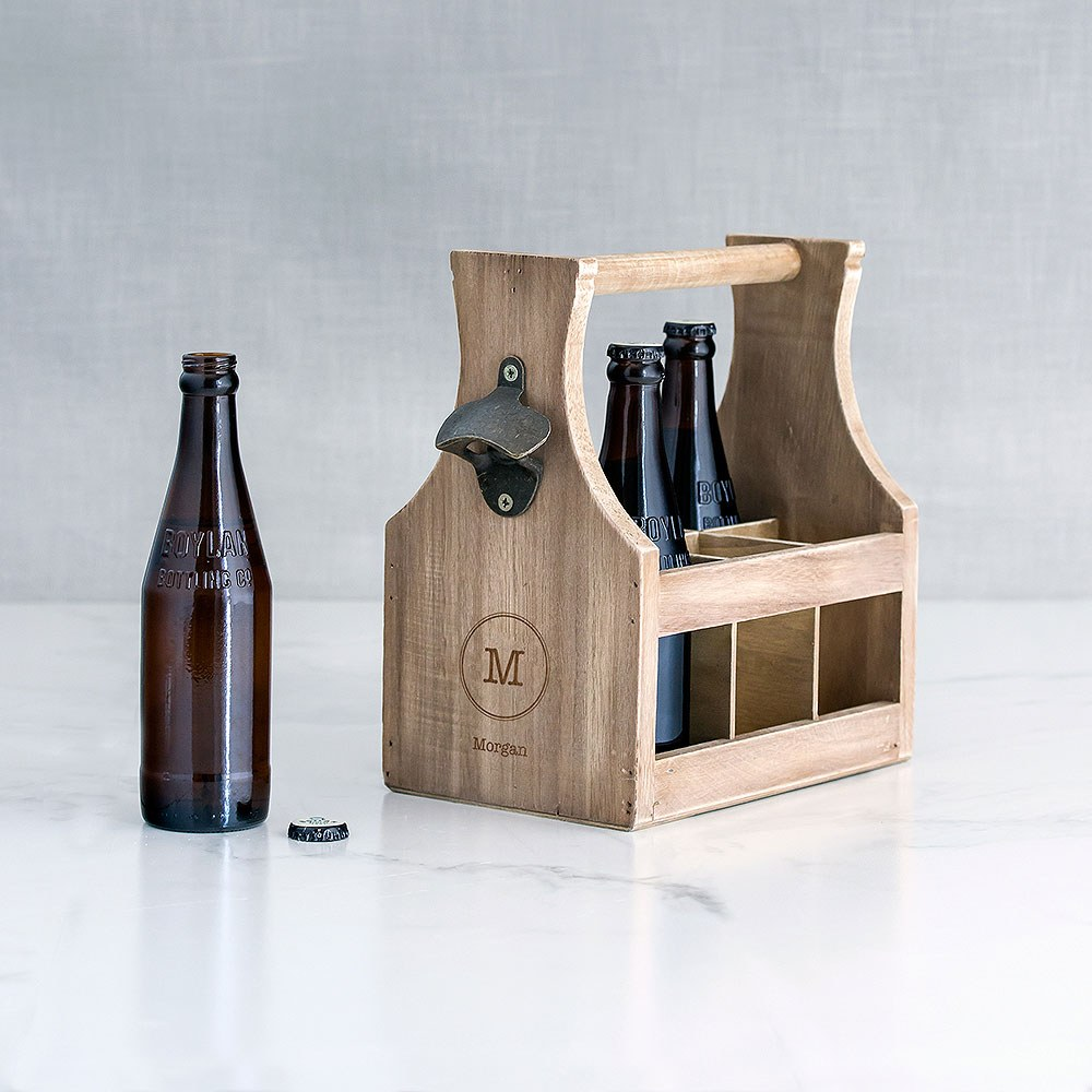 Wood Bottle Caddy with Opener Typewriter Monogram Etching