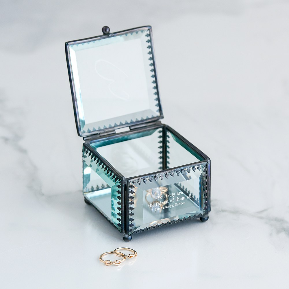 Small Personalized Vintage Glass Jewelry Box - Custom Monogram Engraving