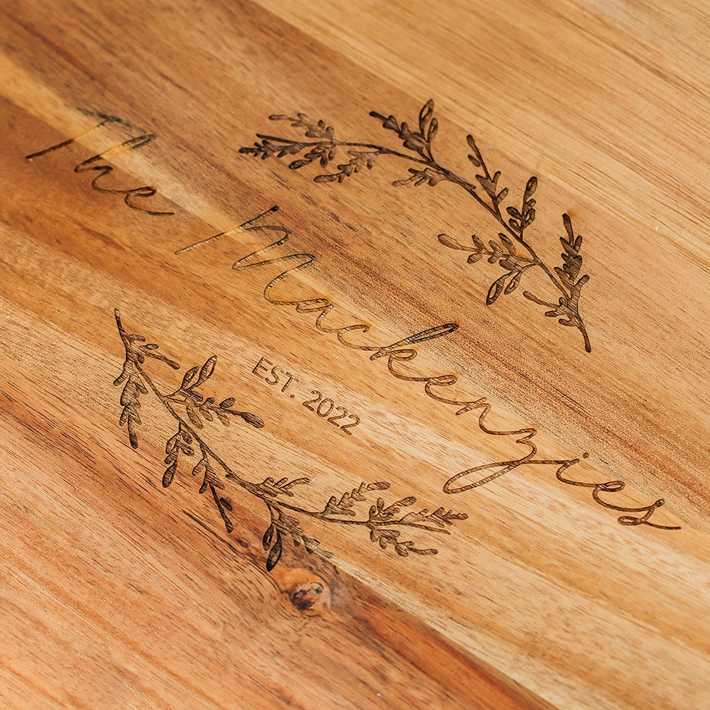 Personalized Wooden Paddle Cutting & Serving Board with Handle - Signature Script