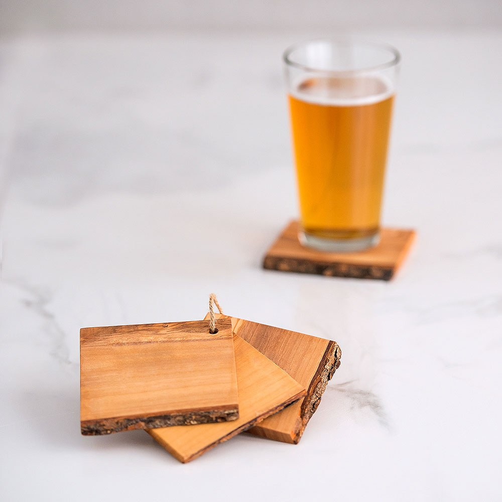 Rustic Wood Coaster Set