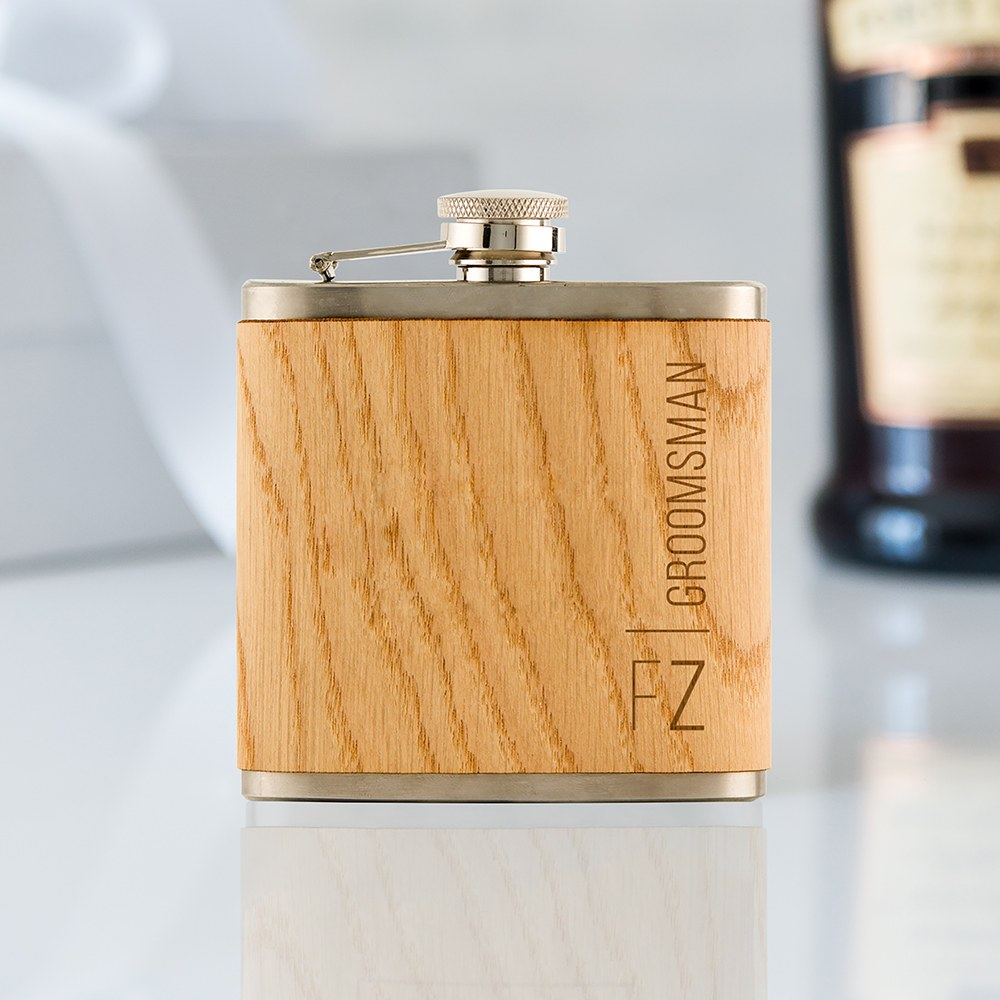 Personalized Oak Wood Wrapped Stainless Steel Hip Flask - Vertical Monogram and Text Print