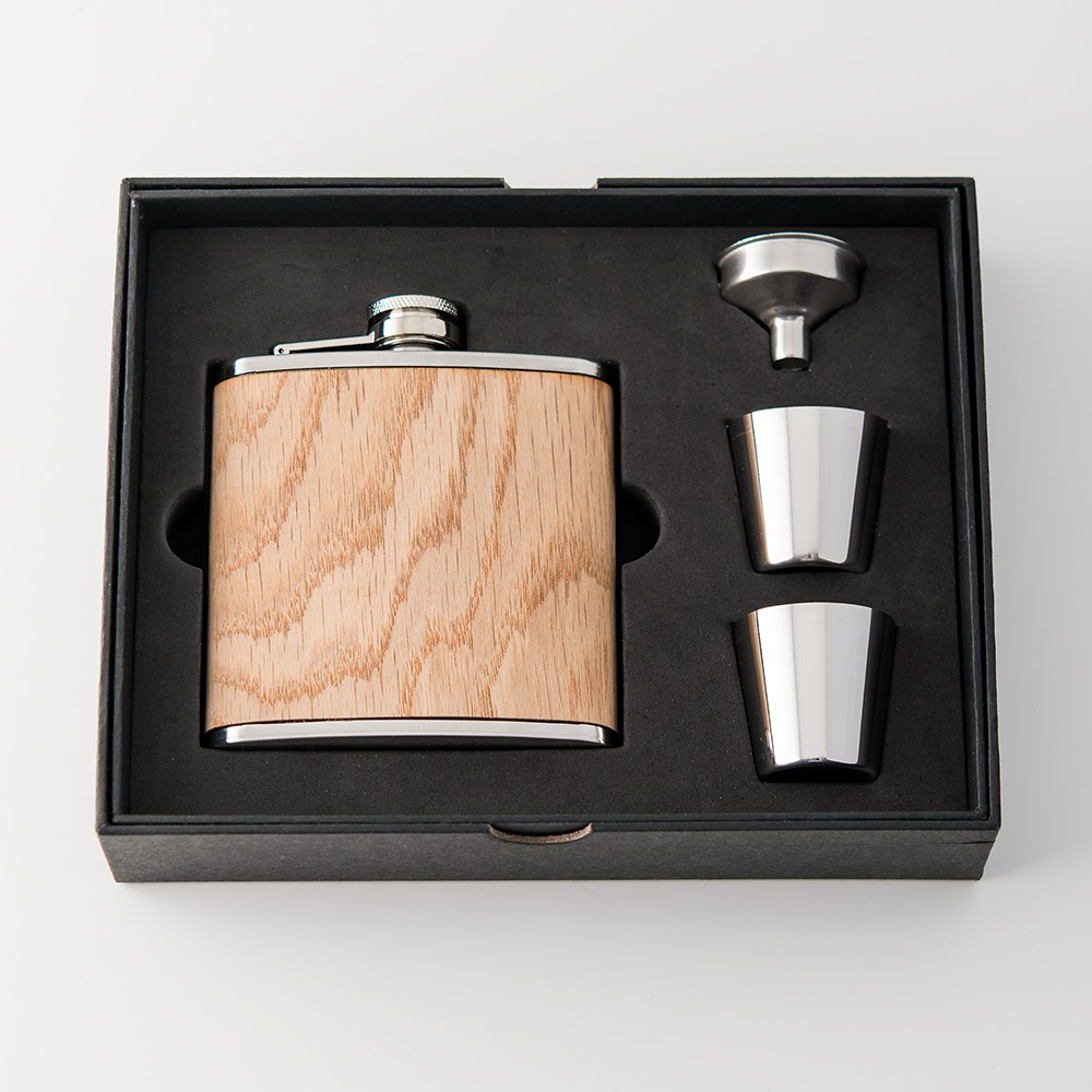 Oak Wood Wrapped Stainless Steel Hip Flask