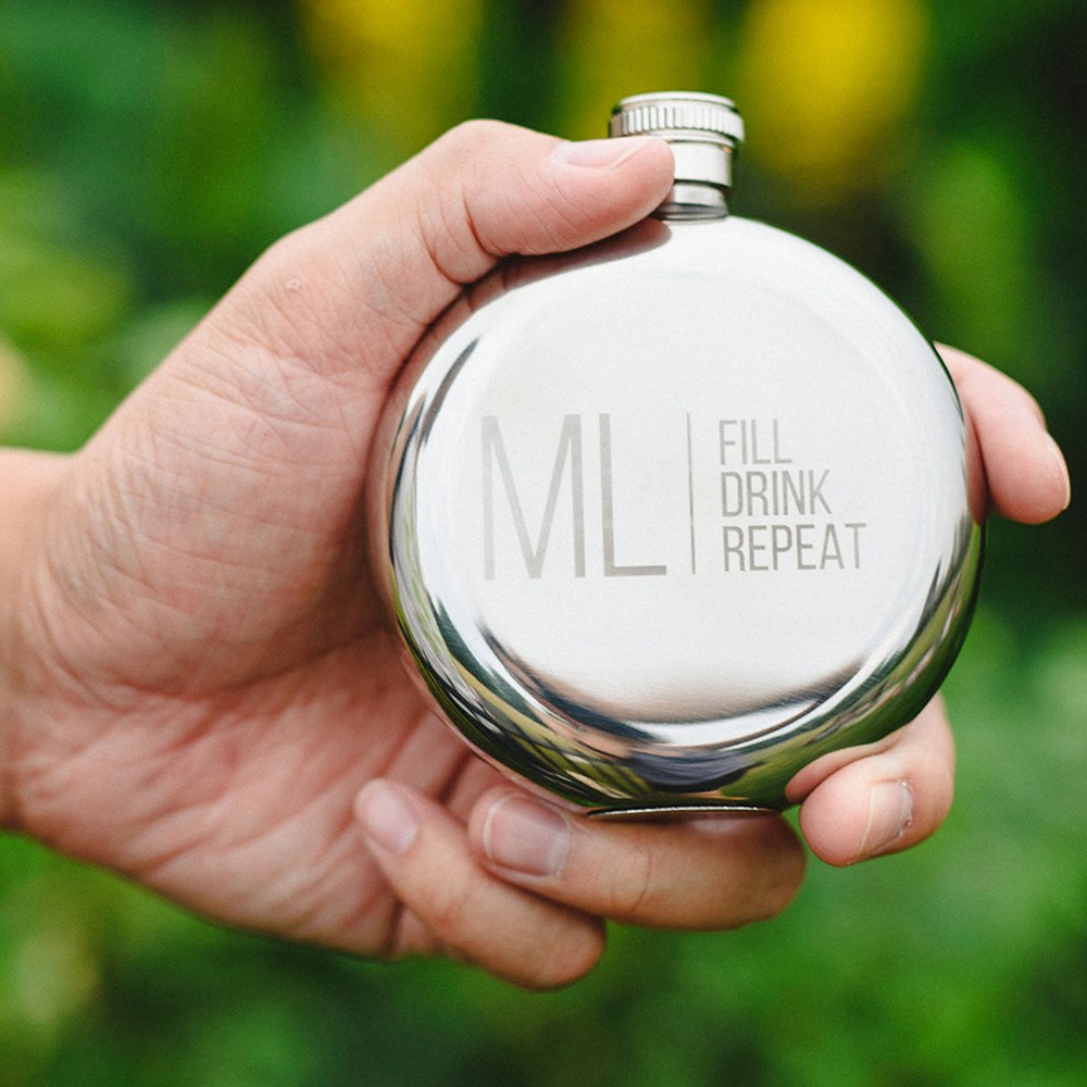 Personalized Silver Stainless Steel Round Hip Flask – Modern Monogram and Text Engraving