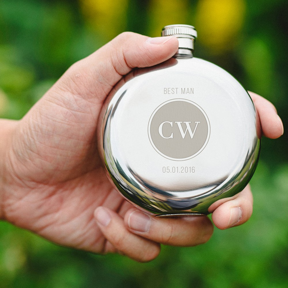 Personalized Silver Stainless Steel Round Hip Flask – Circle Monogram Engraving