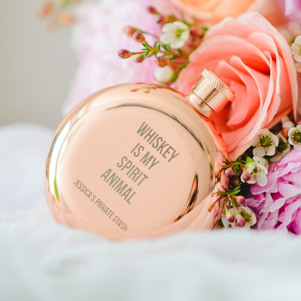 Personalized Rose Gold Stainless Steel Round Hip Flask – Spirit Animal Engraving