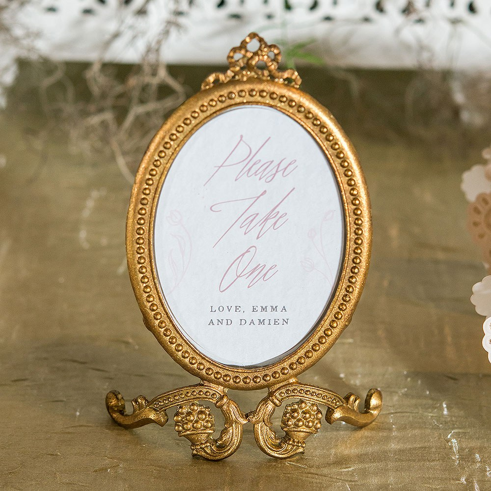 Small Oval Baroque Table Sign Holder