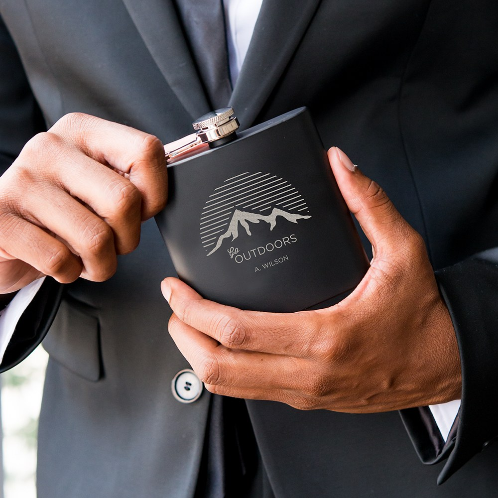 Personalized Engraved Black Hip Flask Wedding Gift - Go Outdoors Engraving