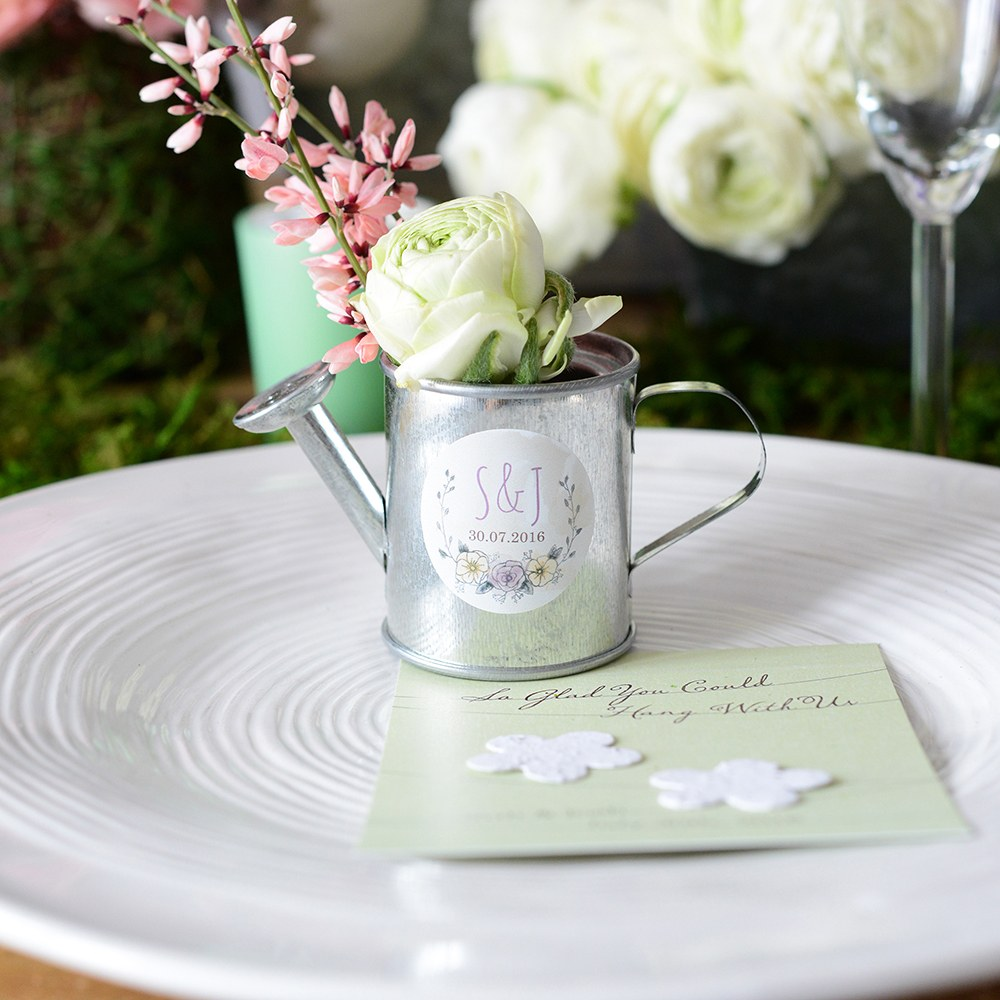 mini watering can wedding favor