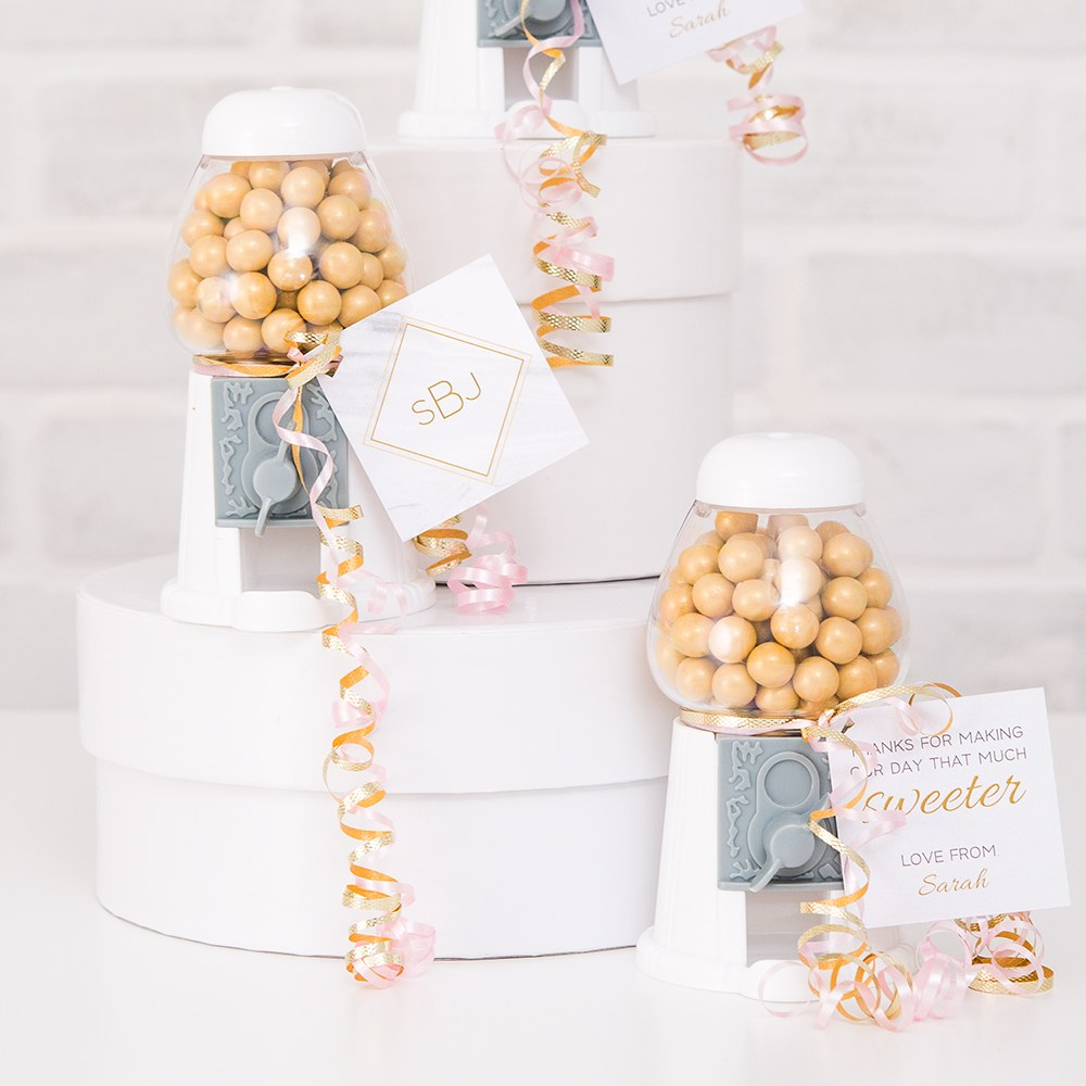 empty classic wedding favor gumball machine in white