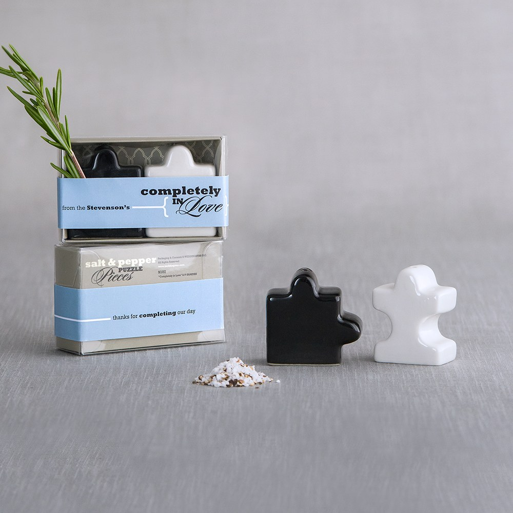 puzzle piece salt and pepper wedding favor