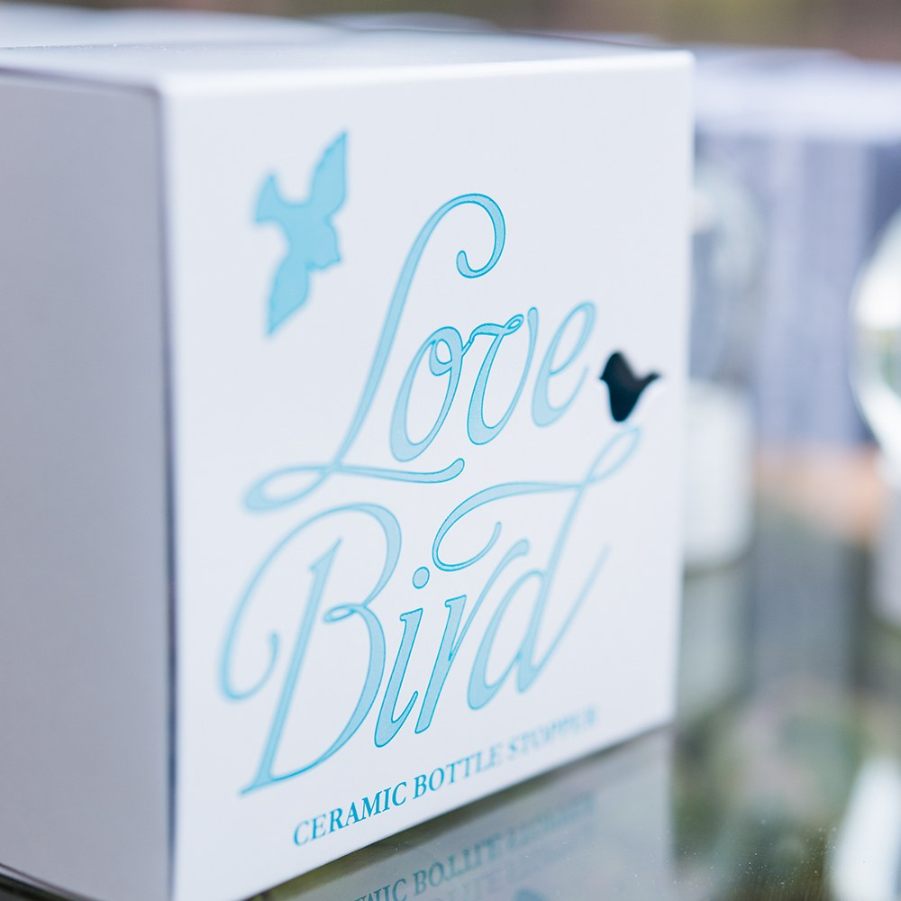 love bird wedding favor bottle stopper
