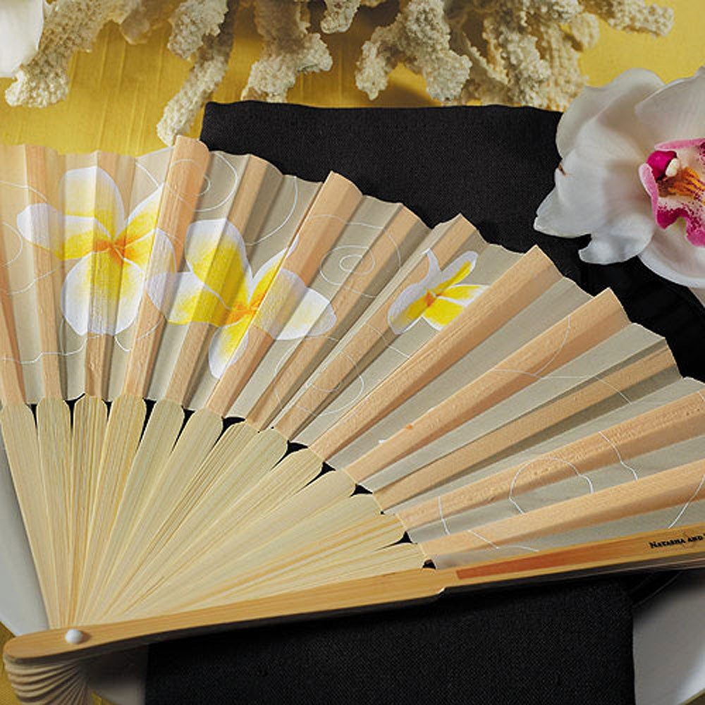 tropical wedding favor hand fans