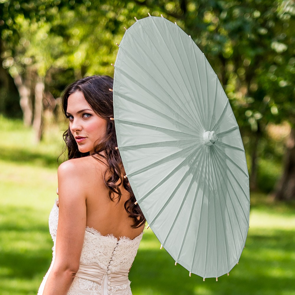 Pretty Paper Parasol with Bamboo Handle - Light Sage Green