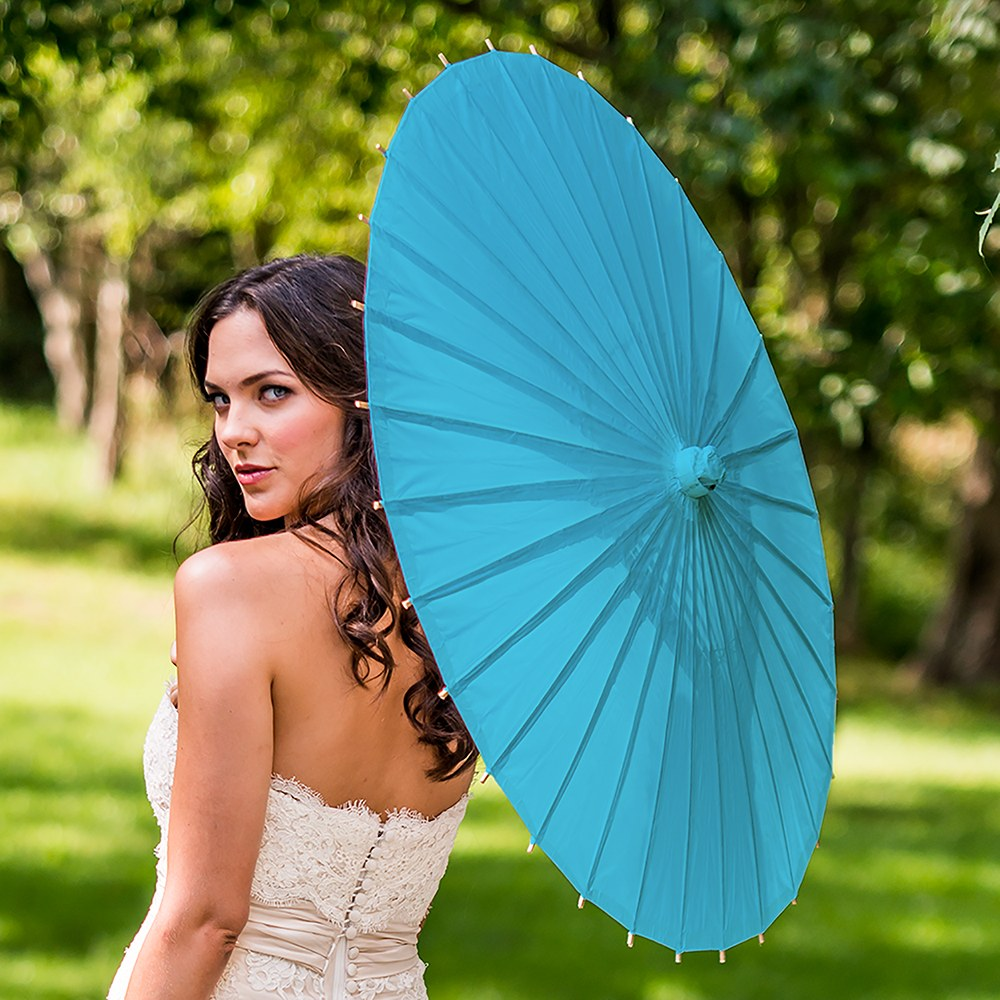 Paper Parasol with Bamboo Boning - Caribbean Blue