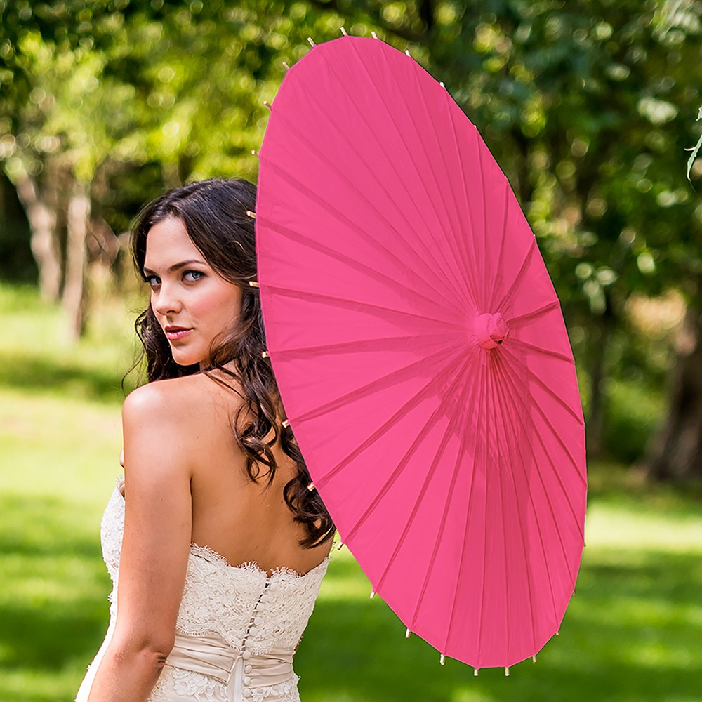 Paper Parasol with Bamboo Boning - Fuchsia