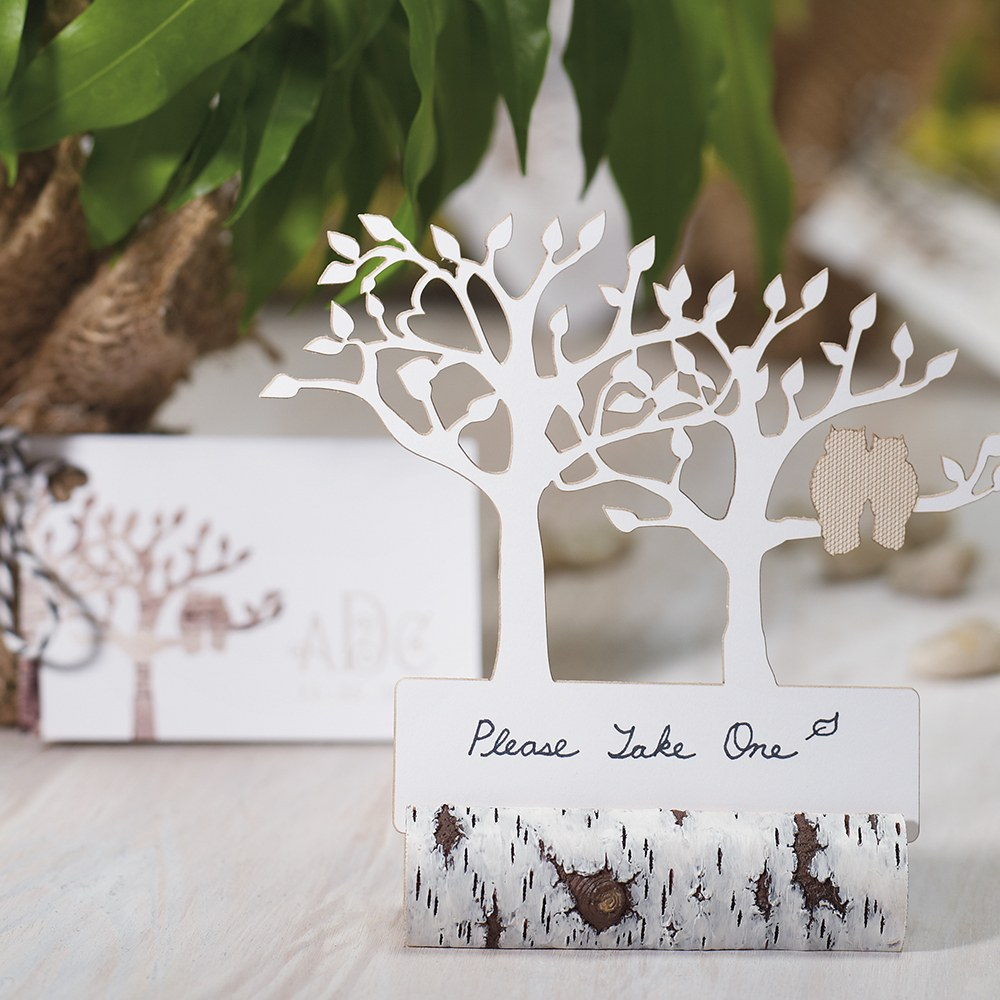 Faux Birch Log Card or Sign Holder