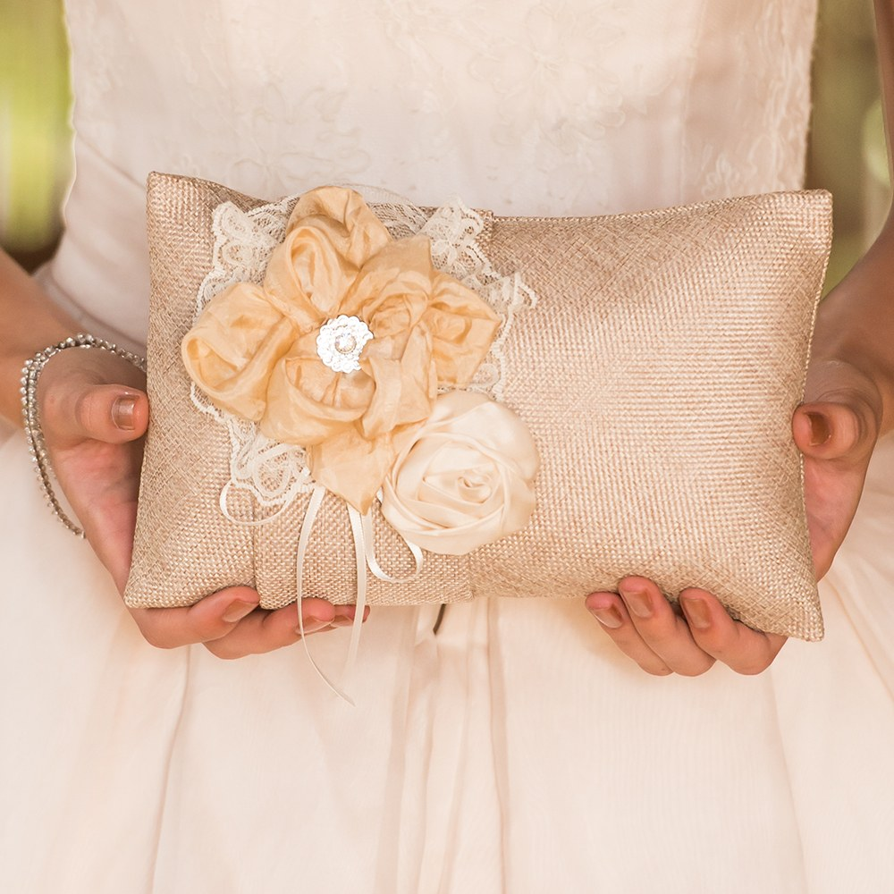 Burlap Chic Ring Bearer Pillow