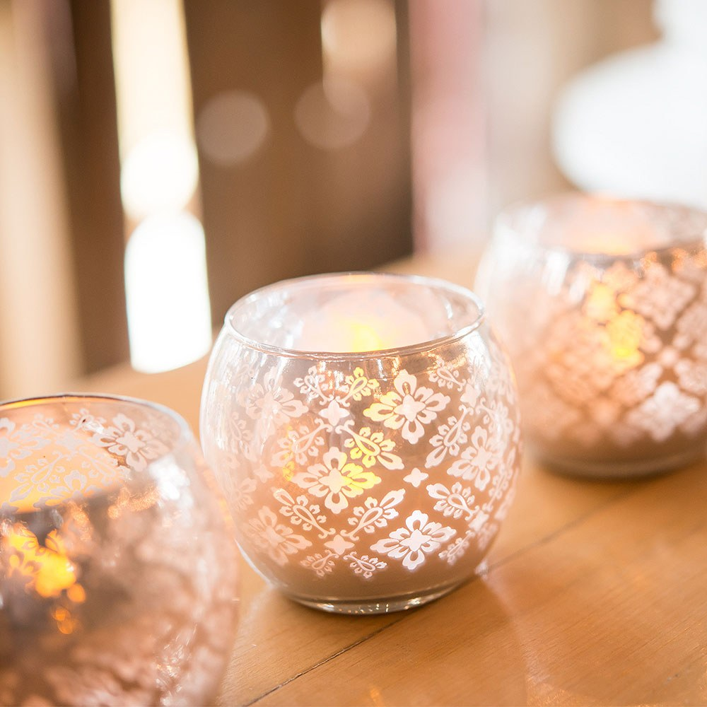 Small Glass Globe Votive Holder With Reflective Lace Pattern - Peach