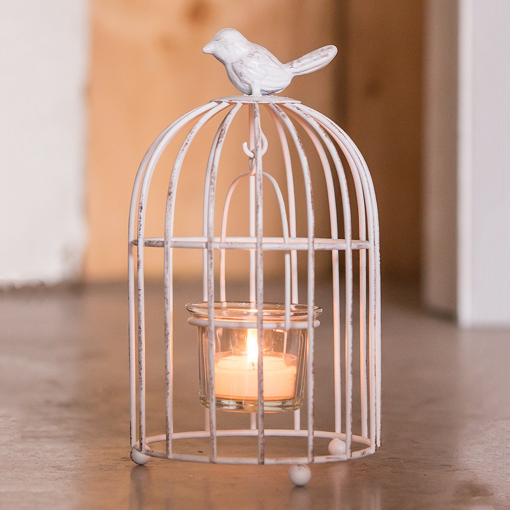 Small Metal Birdcage with Suspended Tealight Holder