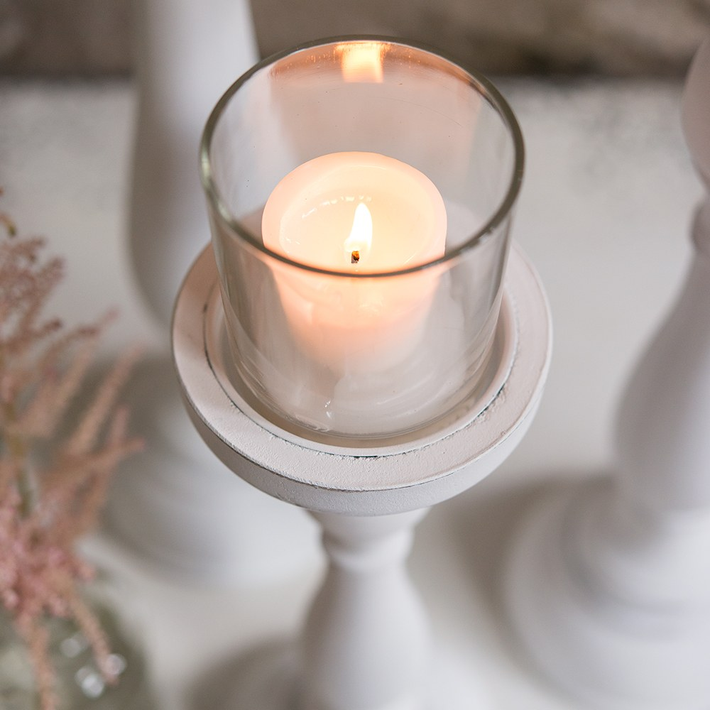 Shabby Chic Spindle Candle Holder Set
