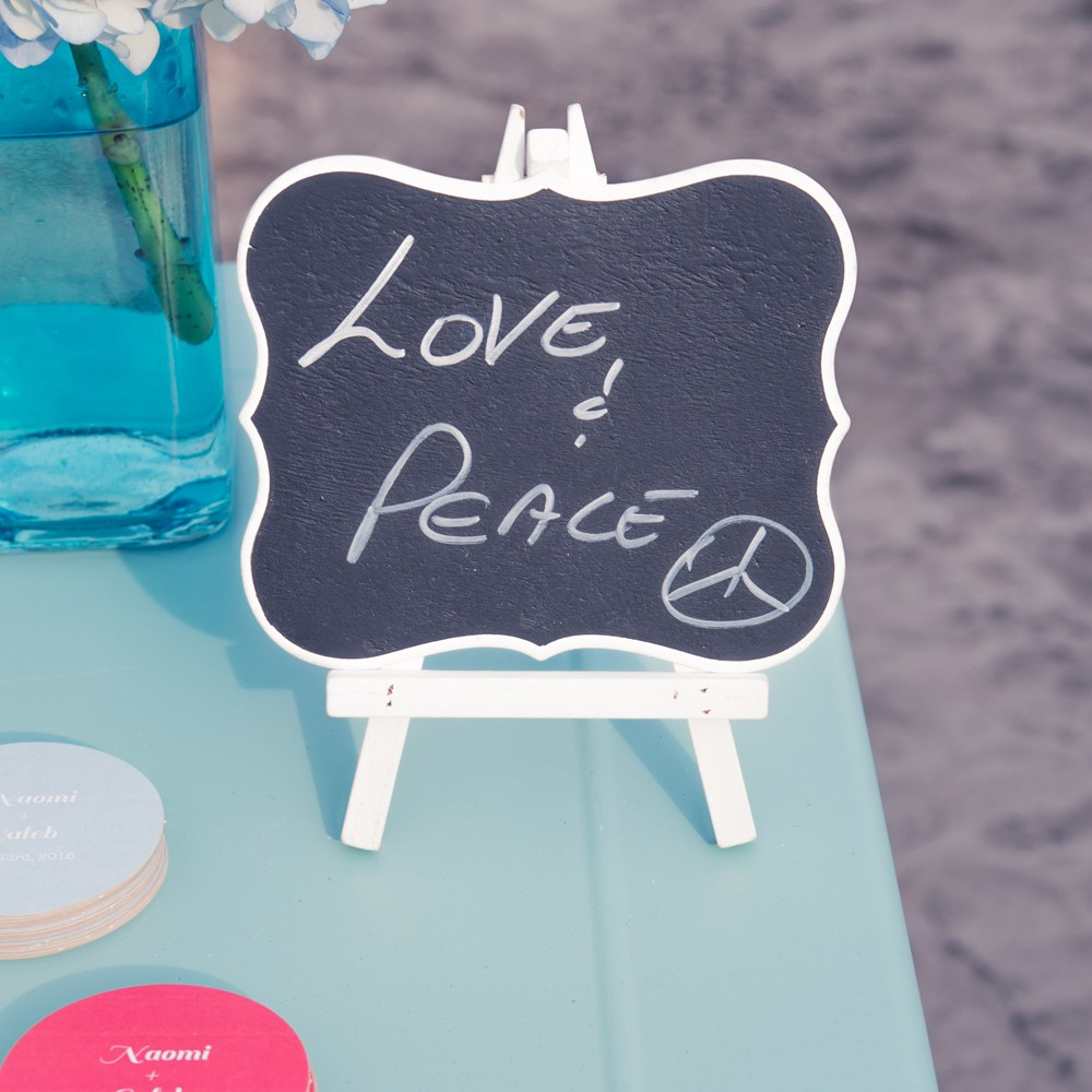 Chalkboard Table Sign With White Frame - Medium