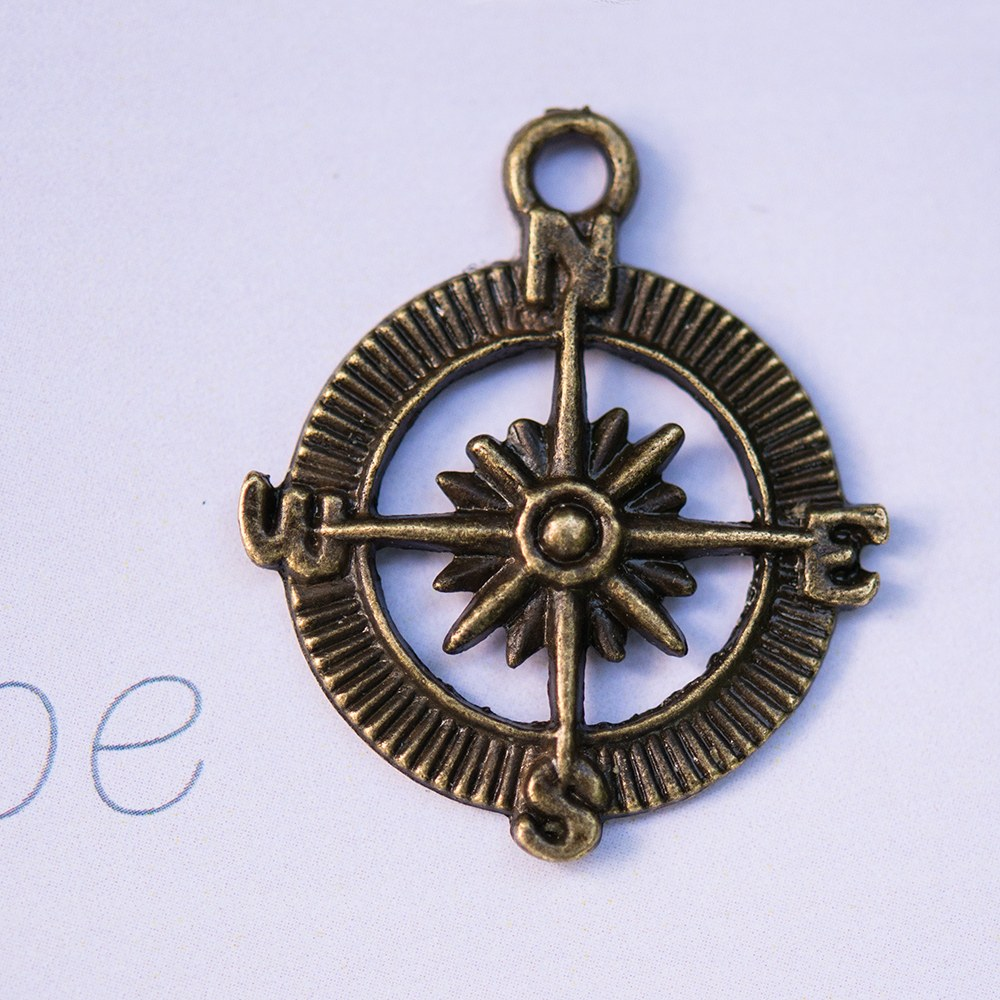 Compass Charms with Antique Brass Finish