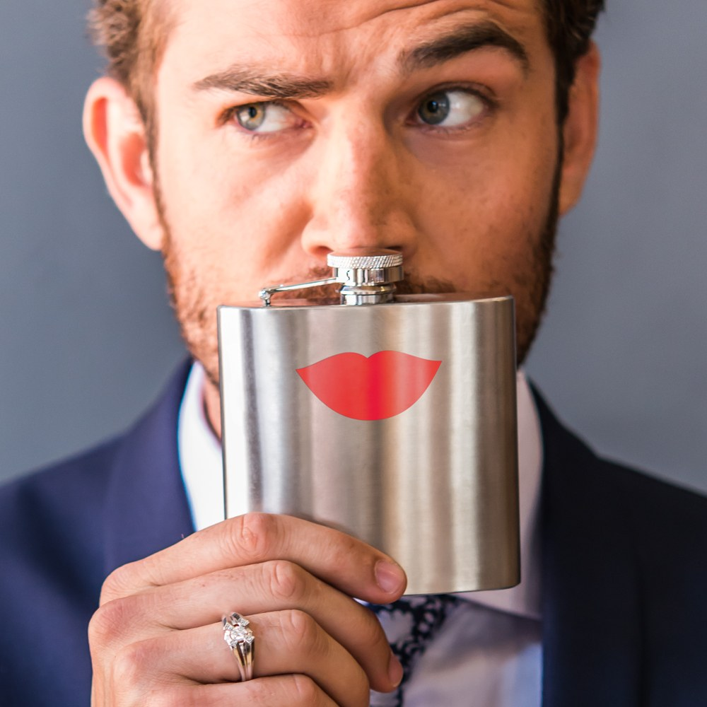 Stainless Steel Flask with Red Lips Imprint   Matte Silver Finish
