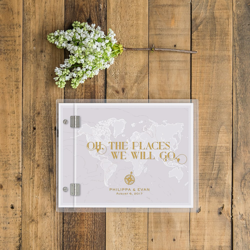 Personalized Clear Acrylic Wedding Guest Book - Vintage Travel