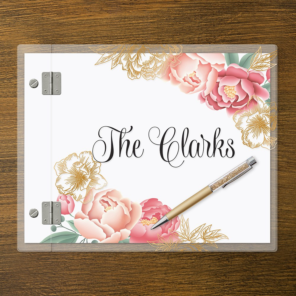 Personalized Clear Acrylic Wedding Guest Book - Modern Floral