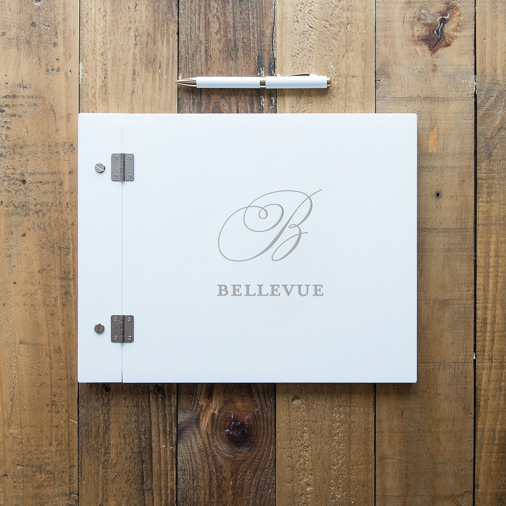 Personalized White Acrylic Wedding Guest Book - Monogram Simplicity