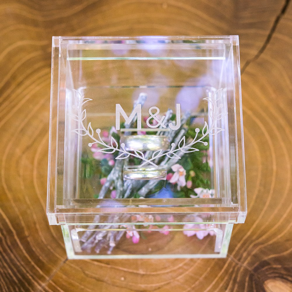 Small Personalized Clear Acrylic Ring Box- Woodland Engraving