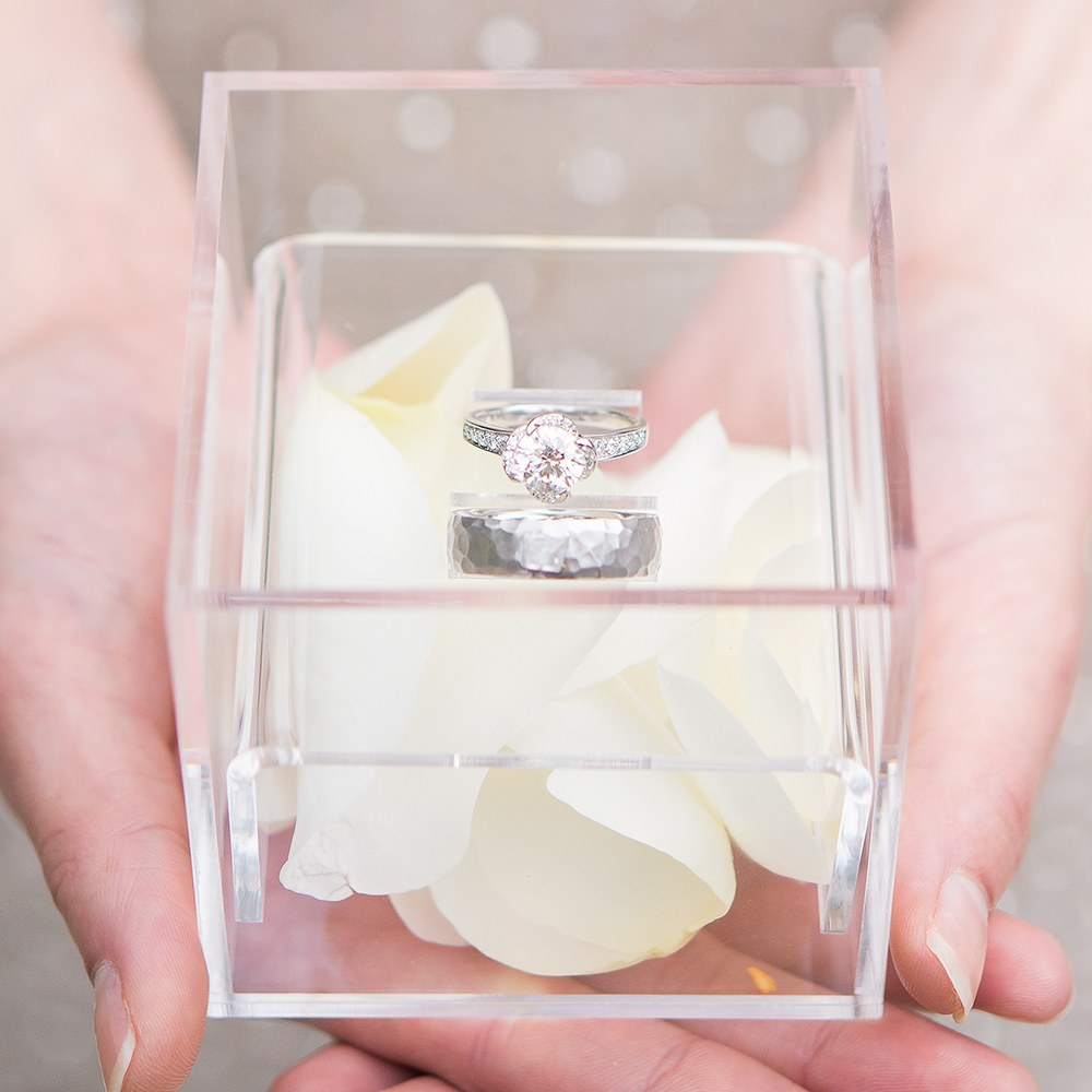 Small Personalized Clear Acrylic Ring Box- Classic Filigree Engraving