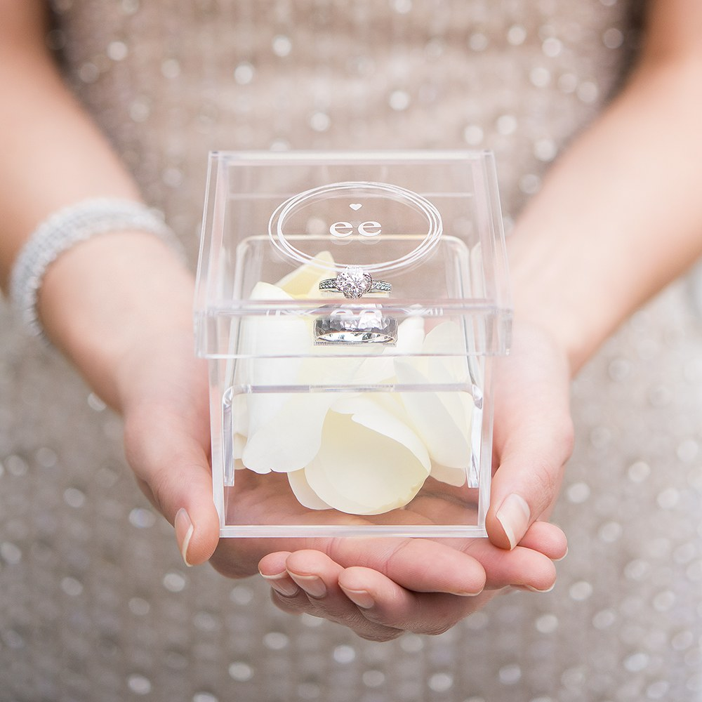 Small Personalized Clear Acrylic Ring Box- Little Heart Engraving