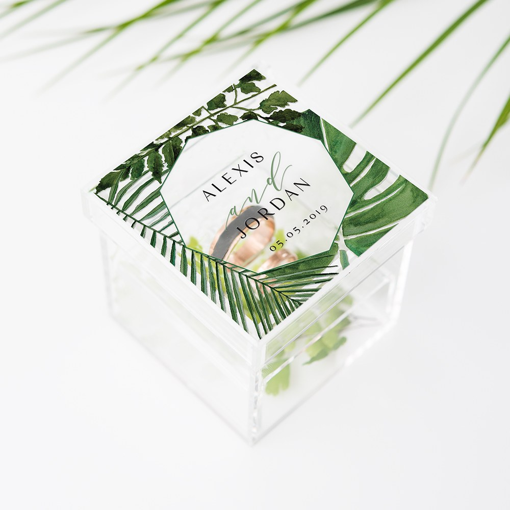 Acrylic Wedding Ring Box - Greenery Printing