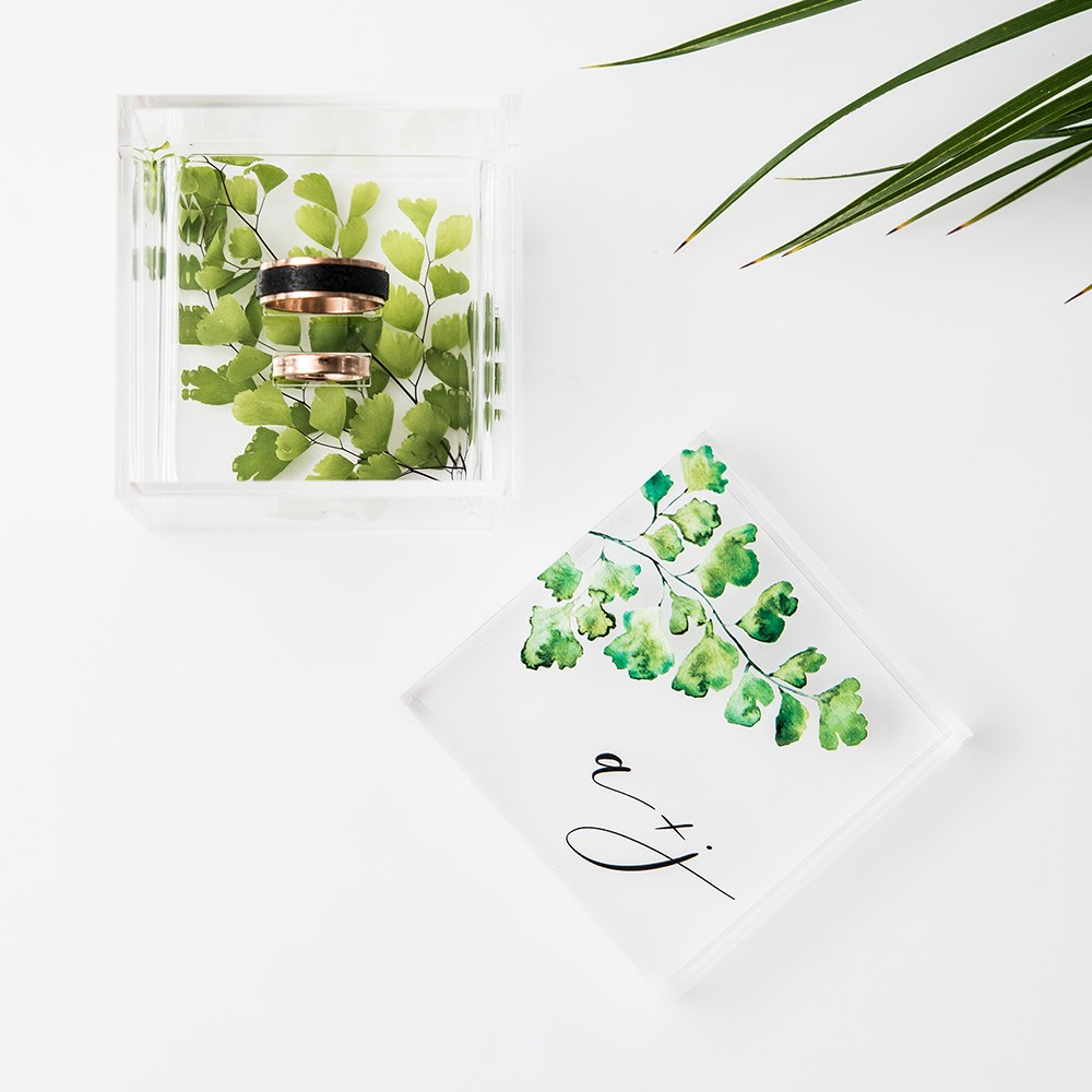 Acrylic Wedding Ring Box - Maidenhair Fern Greenery Printing