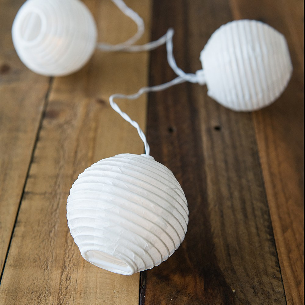 Decorative Battery Operated Led String Lights White Paper Globe The Knot Shop