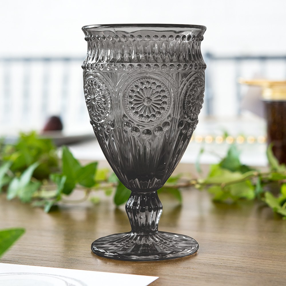 Vintage Style Pressed Glass Wine Goblet - Black