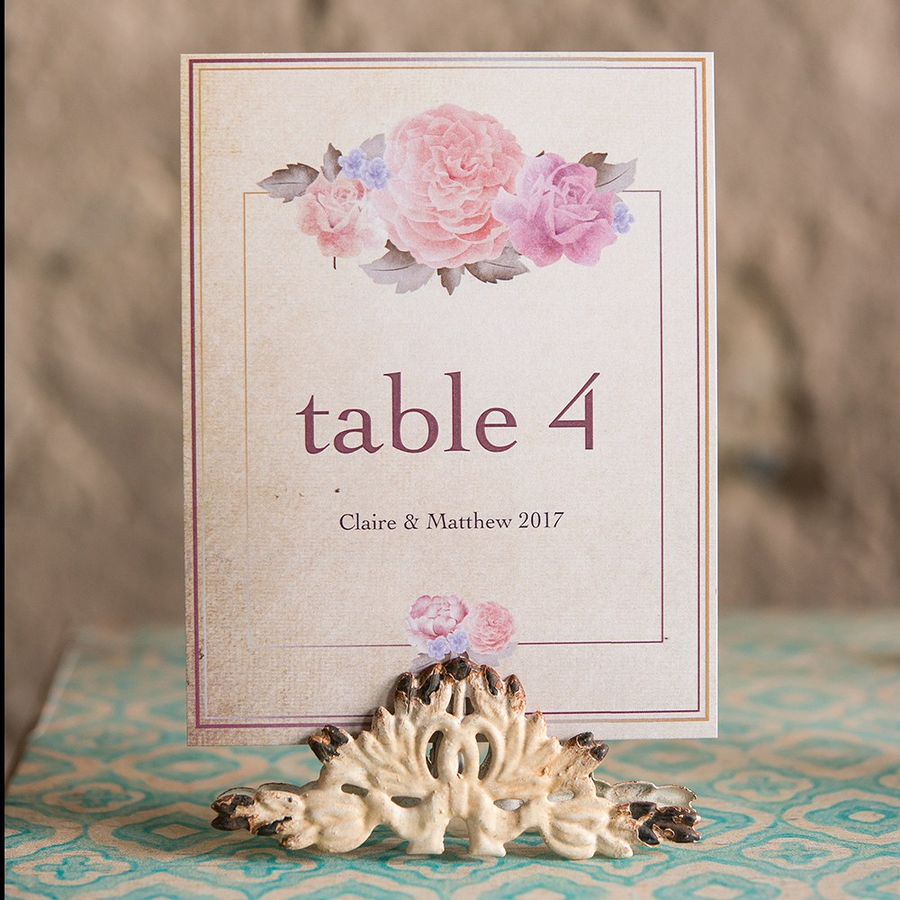 Antique White Metal Table Sign Holder
