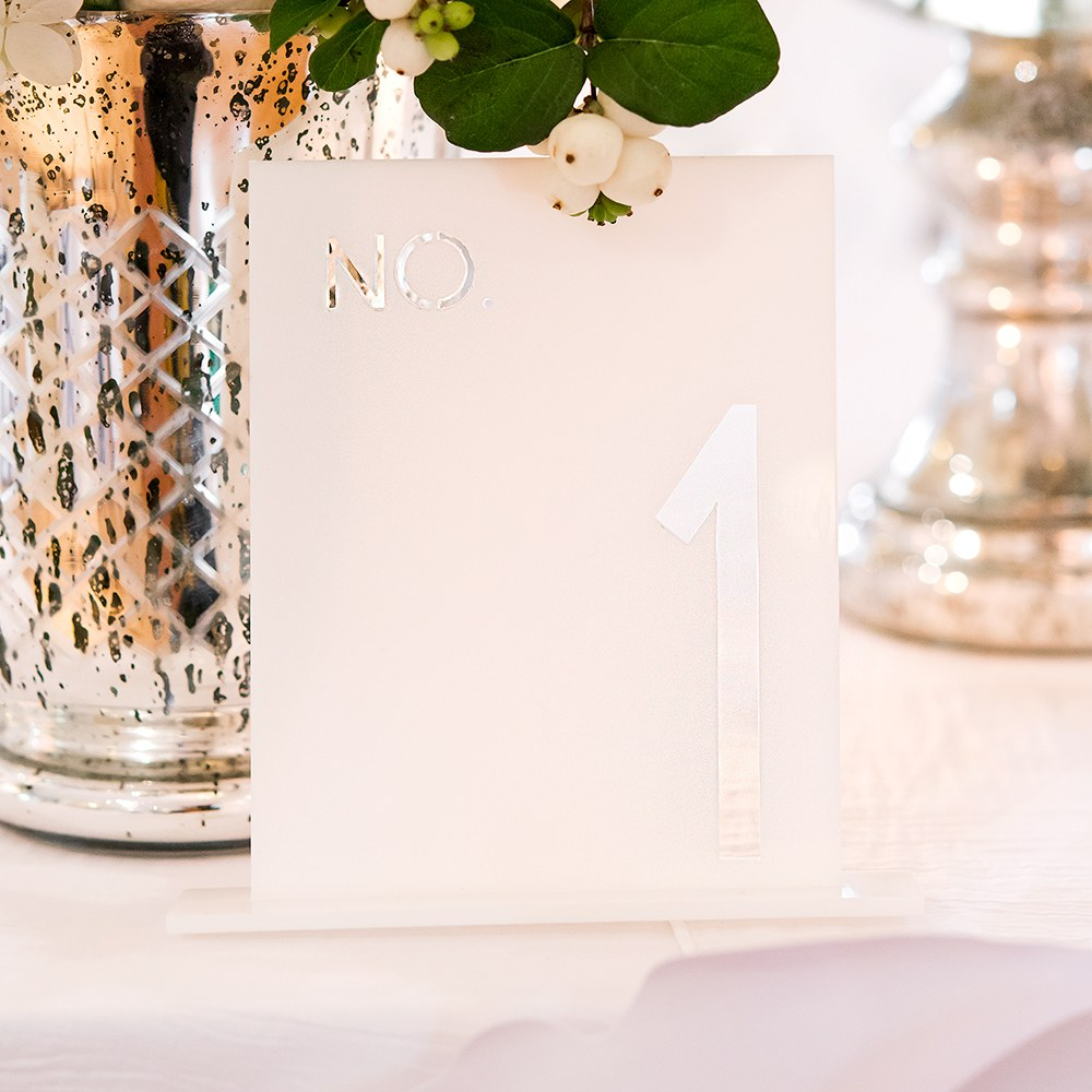 White Acrylic Table Number Block Style