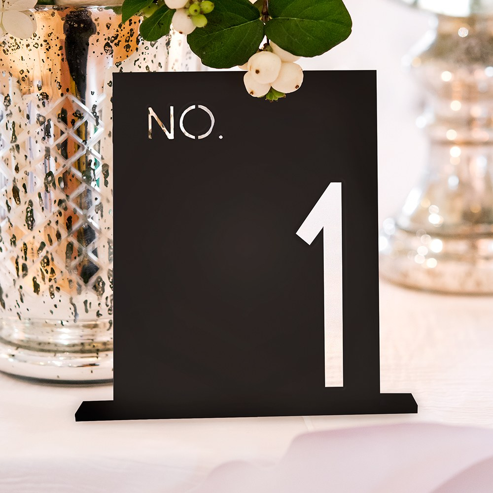 Black Acrylic Table Number - No. in Block Style