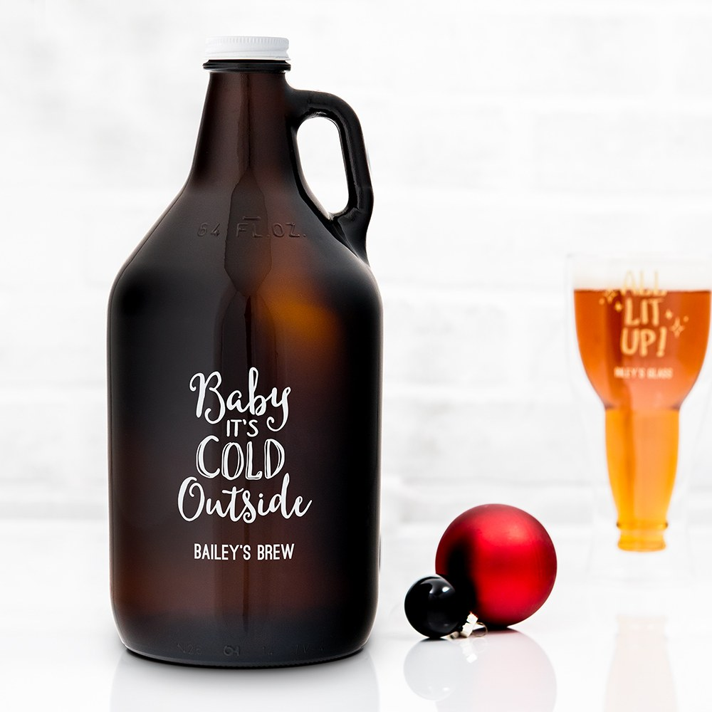Personalized Micro Brew Amber Glass Beer Growler - Baby It's Cold Outside Printing