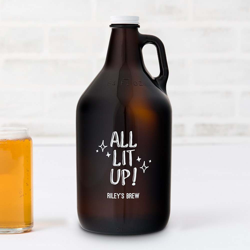 Personalized Micro Brew Amber Glass Beer Growler - All Lit Up! Printing