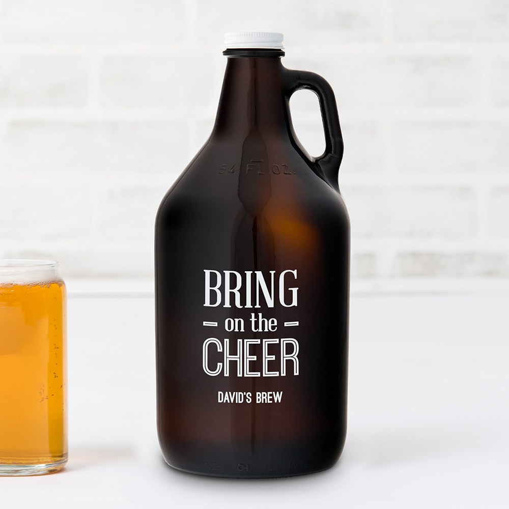 Personalized Micro Brew Amber Glass Beer Growler - Bring on the Cheer Printing