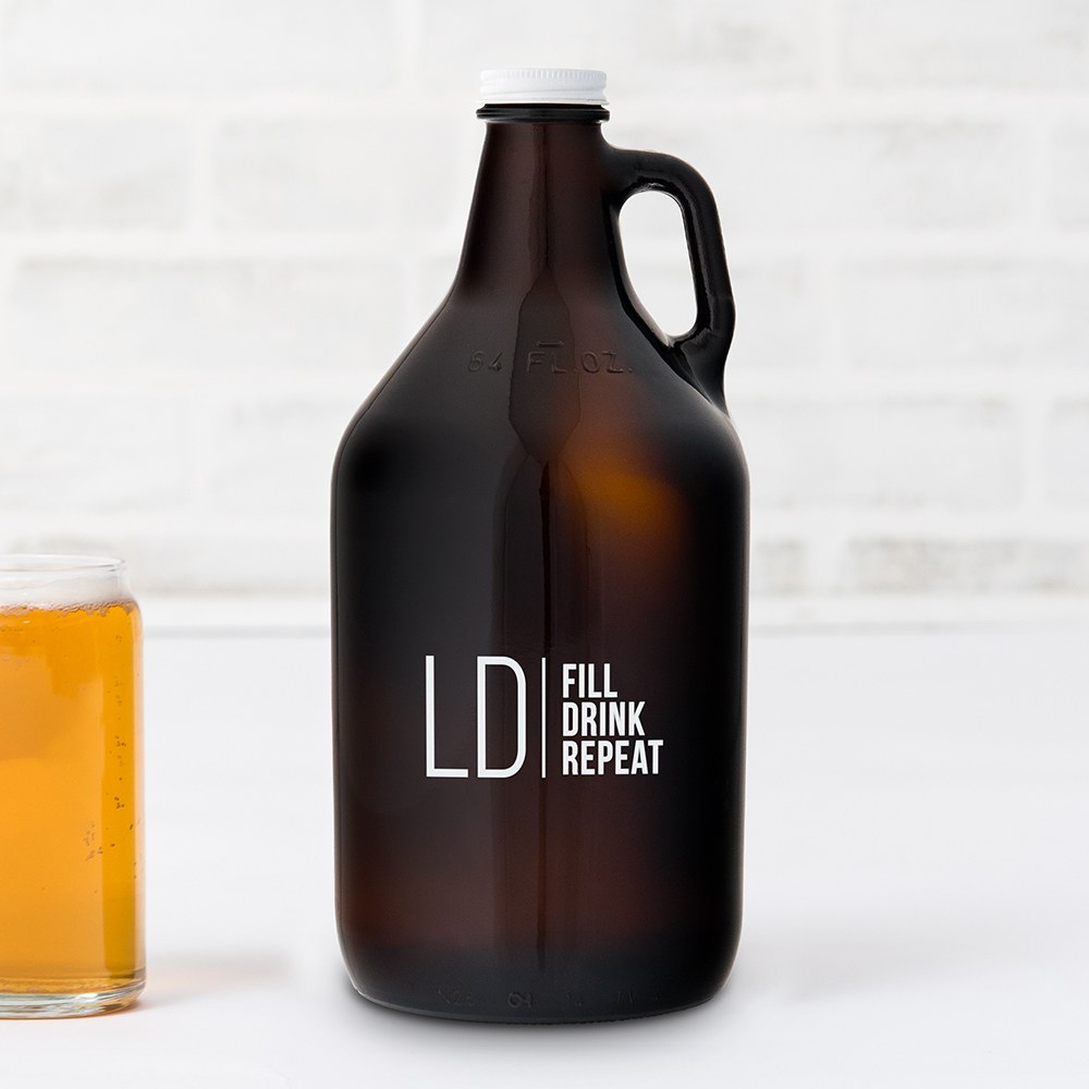 Personalized Micro Brew Amber Glass Beer Growler - Modern Logo Printing