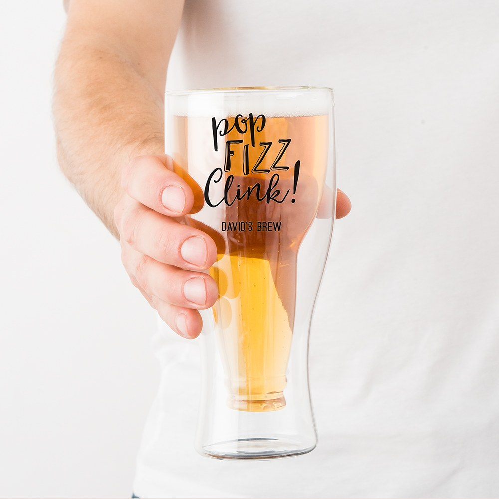 Personalized Double Wall Beer Glass – Pop Fizz Clink Print